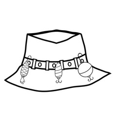Line fishing peasant hat object to warker vector