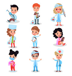 little kids playing doctor set cute boys and vector image