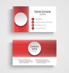 Modern red round business card template vector image vector image