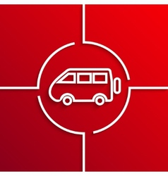 modern white circle icon on red background vector image vector image