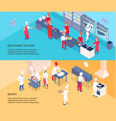 professional cooking isometric banners vector image vector image