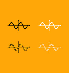 Sinewave black and white set icon vector