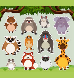 Sticker design for wild animals in the field vector