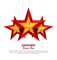 Three achievement stars realistic sign vector