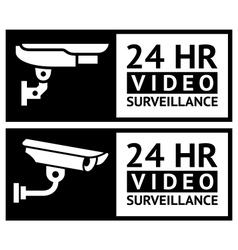 Video surveillance stickers vector image vector image