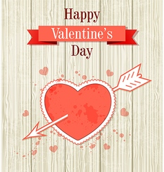 Vintage valentine card with red heart vector