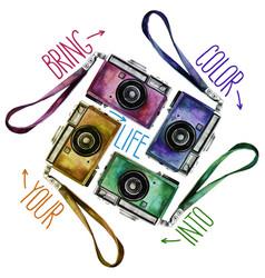 watercolor set of multicolor vintage reflex vector image