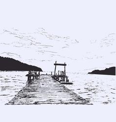 Wonderful seaveiw pier sketch vector