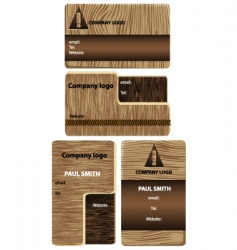wood business cards vector image