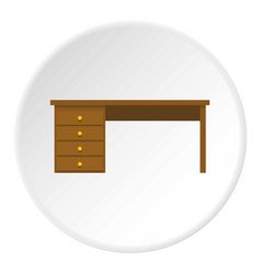 Wooden office desk icon circle vector