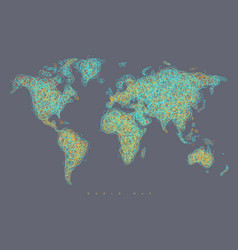 World map tangle lines light blue vector