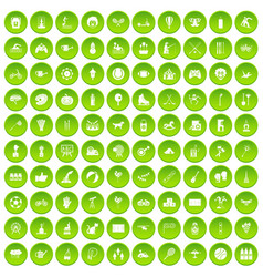 100 kids activity icons set green circle vector