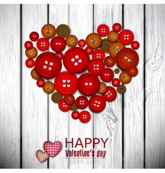 Red heart made from red buttons valentines day vector