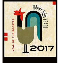 Retro crowing rooster happy new year 2017 vector