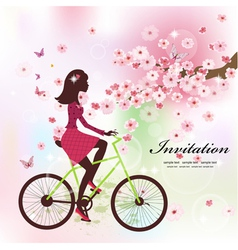 Girl bike card vector