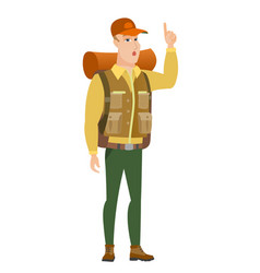 Traveler with open mouth pointing finger up vector