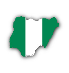 Map and flag of nigeria vector