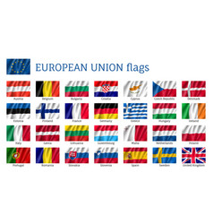 Waving flags of european union vector