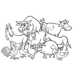 cartoon farm animals coloring book vector image