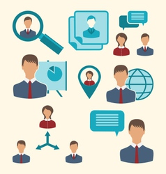 Flat icons of business people showing presentation vector
