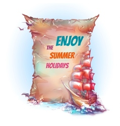 Banner with sail ship in ocean vector