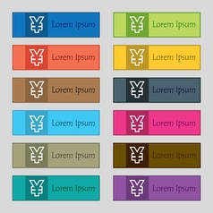 Yen jpy icon sign set of twelve rectangular vector