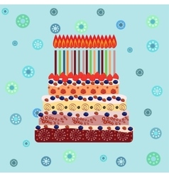 Birthday cake with sixteen candles sixteen years vector