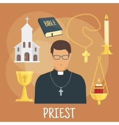 Catholic priest with religious symbols flat style vector