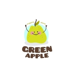 Green apple mascot logo vector