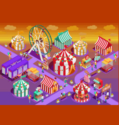 amusement park circus attractions isometric vector image vector image