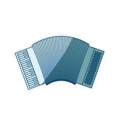 Blue shading silhouette of accordion icon vector