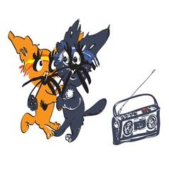 Cats dancing vector