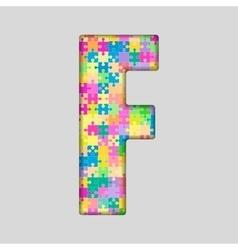Color piece puzzle jigsaw letter - f vector