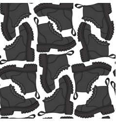 Color seamless pattern with black boots vector