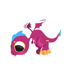 Cute baby dragon in flying action mythical purple vector