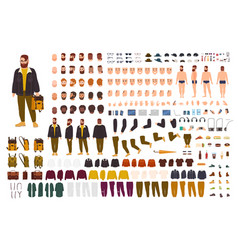fat man creation set or diy kit collection of vector image vector image