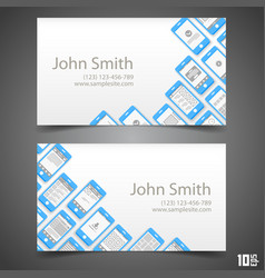 Flat phone screen calling card vector