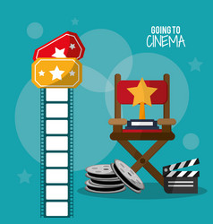 Going to cinema reel clapper film strip and vector
