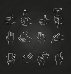 Hand icons with tools and elements on chalkboard vector
