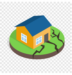 House after an earthquake isometric icon vector