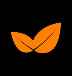 leaf sign orange icon on black vector image