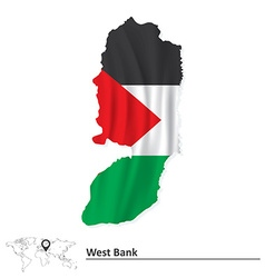 Map of West Bank with flag vector image vector image