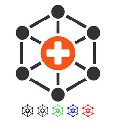 Medical network flat icon vector