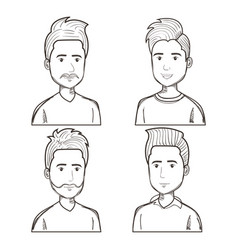 Men with different hairstyles set vector