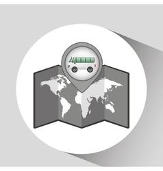 Mini bus icon map pointer design vector