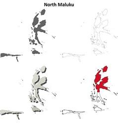 North maluku blank outline map set vector