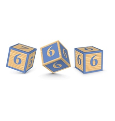 Number 6 wooden alphabet blocks vector