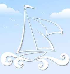Paper boat in the blue ocean format vector image vector image