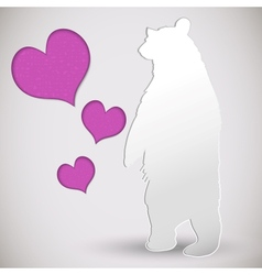 paper cut greeting card with bear and heart vector image vector image