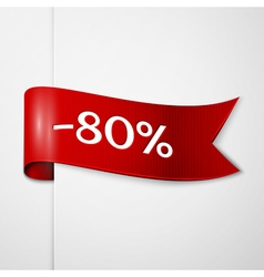 Red ribbon with inscription eighty percent vector image